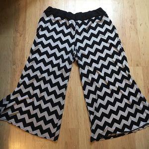 Pants - Black and white chevron pants